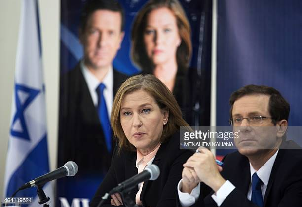 Israeli MP Tzipi Livni and Isaac Herzog co leaders of the Zionist Union party answer questions during a press conference with the Israeli Russian...