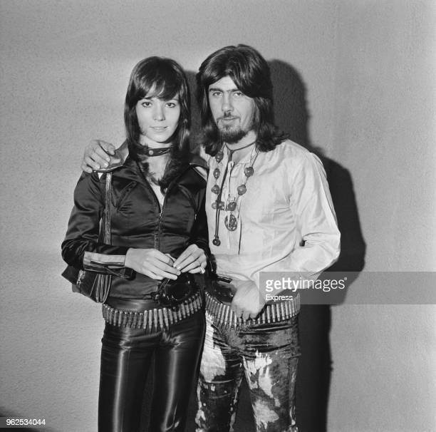Israeli musician and singer Abi Ofarim pictured with his partner German actress Iris Berben on 24th September 1970 Both Ofarim and Berben are wearing...