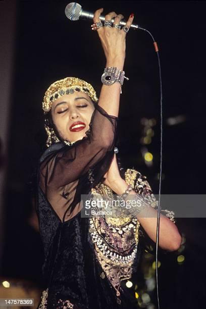 Israeli musician Ofra Haza performs in concert, New York, New York, circa 1990.