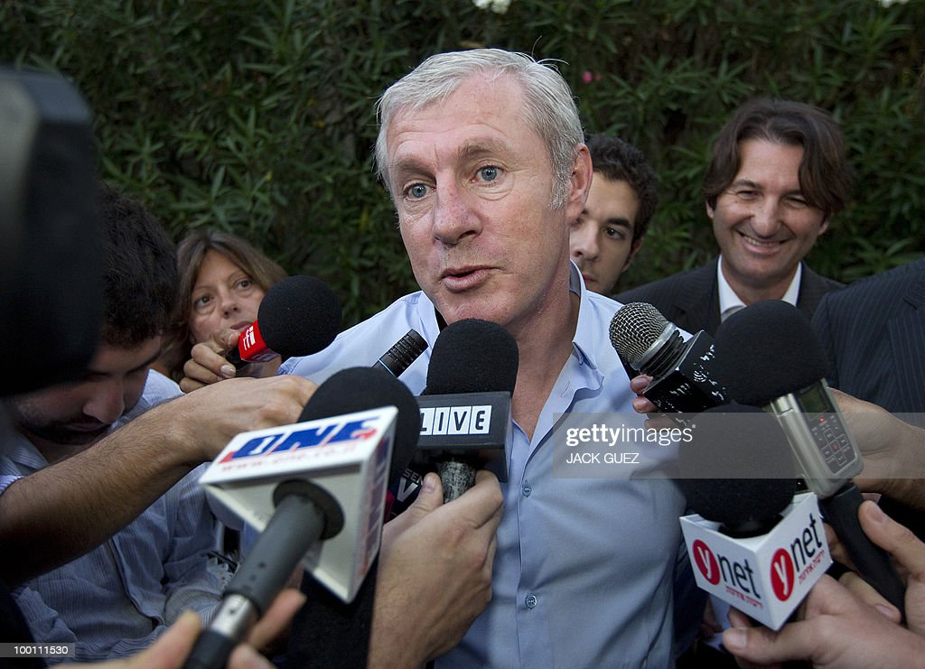 Israeli national football team's French coach Luis Fernandez speaks to reporters during a reception at the French ambassador's residence in Tel Aviv on May 12, 2010.