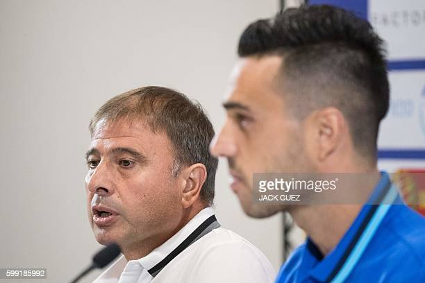 Israeli national football team's head coach, Elisha Levy speaks during a press conference, on September 4, 2016 at Sammy Ofer Stadium in Haifa, in...