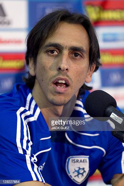 Israeli national football team's midfielder Yossi Benayoun speaks during a press conference at the Bloomfield Stadium in Tel Aviv on September 1 2011...