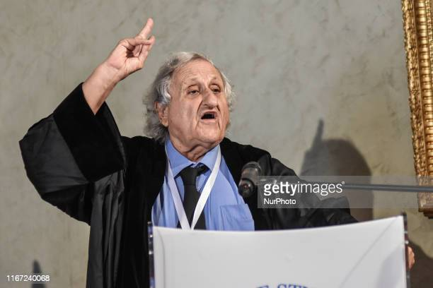 Israeli novelist Abraham B. Yehoshua speaks after receiving the honorary doctorate degree in philosophical and historical sciences from magnificent...