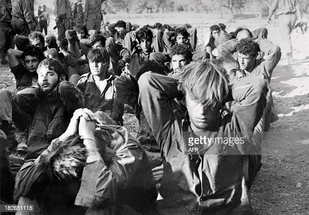 Israeli officers prisoners captured by Syrian troops on the Golan front during the Yom Kippur War are presented to the press on October 16 1973 in...