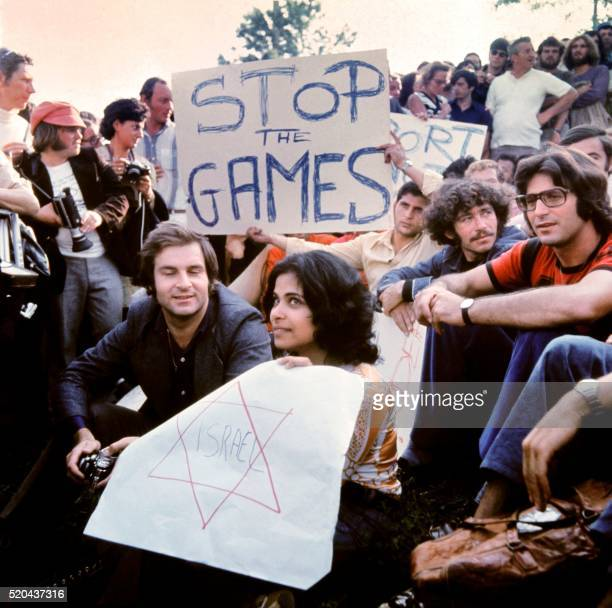 Israeli people demonstrate to stop the Olympic games on September 06 1972 in Munich after the hostagetaking of Israeli team members by a Palestinian...