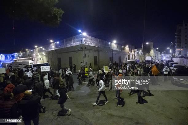 Israeli people gather to protest against Israeli security forces' violences in Isawiya district of Eastern Jerusalem on December 7, 2019.