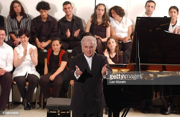 Israeli pianist and conductor Daniel Barenboim is seen after a concert with the Palestinian Youth Orchestra in the Friends School in the West Bank...