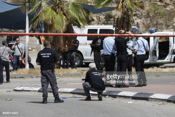 Israeli police are seen at the Mishor Adumim industrial zone near the Israeli settlement of Maale Adumim in the occupied West Bank on the outskirts...