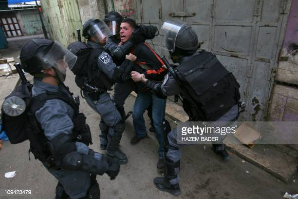 Israeli police arrest Palestinian reporter working for AlJazeera satellite channel Mahmud alJabari during clashes between police and protestors in...