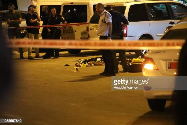 Israeli police cordon off a road after a Palestinian was shot dead near Damascus Gate in Old City in East Jerusalem on September 18 2018