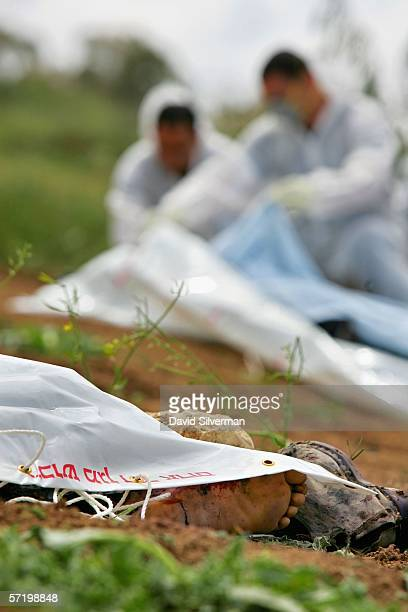 Israeli Police forensic experts inspect the bodies of two Israeli Bedouin shepherds who were killed in an explosion on March 28 2006 in Nahal Oz...