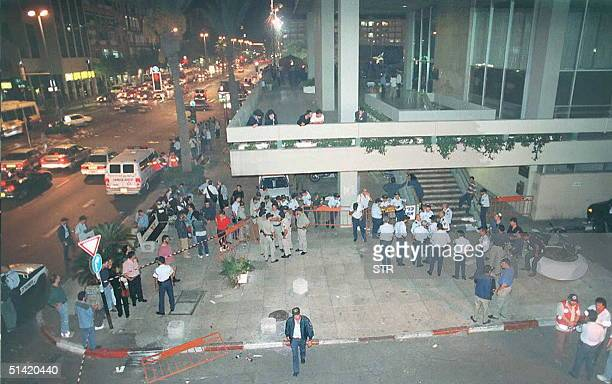Israeli police gather early 05 November at the site in Tel Aviv of the assassination of Israeli Prime Minister Yitzhak Rabin, who was shot 04...