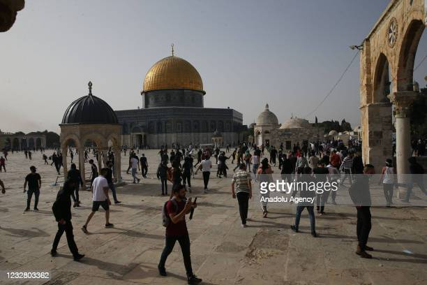 Israeli police intervene in Palestinians, who were standing guard to prevent fanatic Jews to raid the Masjid al-Aqsa Compound, in East Jerusalem on...