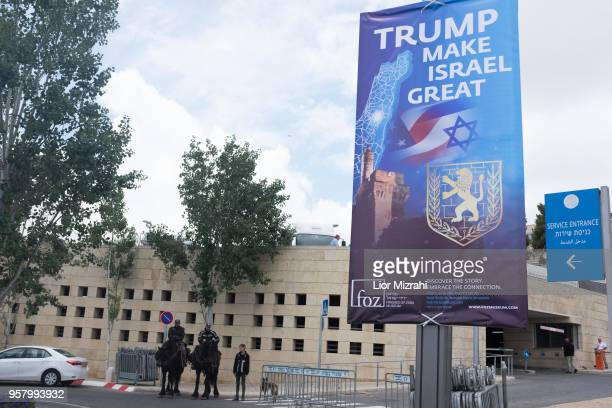 Israeli police officers on hourses patrol outside the US consulate that will act as the new US embassy in May 13 2018 in Jerusalem Israel Trump's...