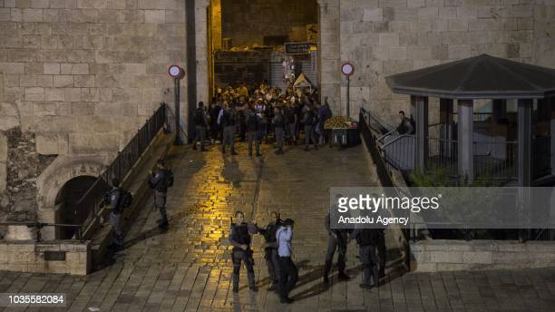 Israeli police take measures around the scene after a Palestinian was shot dead near Damascus Gate in Old City in East Jerusalem on September 18 2018