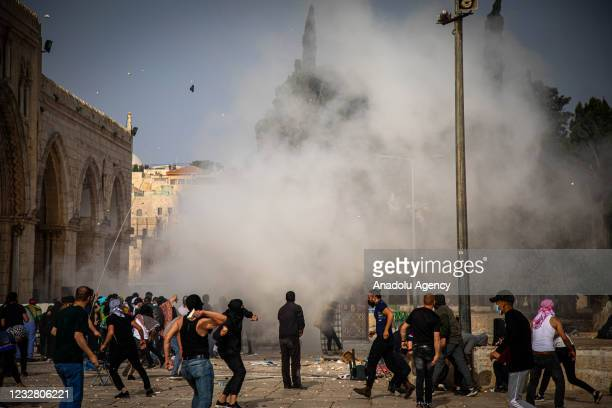 Israeli police use tear gas, rubber bullets and stun grenades to disperse Palestinians who were on guard Al-Aqsa Mosque to prevent raids by extremist...