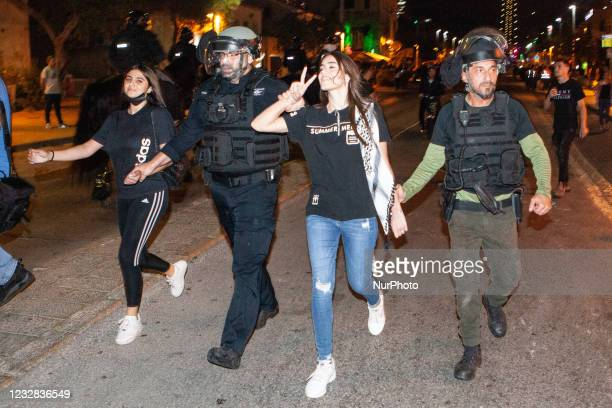 Israeli police violently disperse a Palestinian protest against Israeli actions in Jerusalem and the Gaza Strip, in the northern coastal city of...