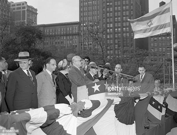 Israeli President Chaim Weizmann speaks at an Israeli Independence Day rally in Madison Square Park on May 4 the first anniversary of the creation of...