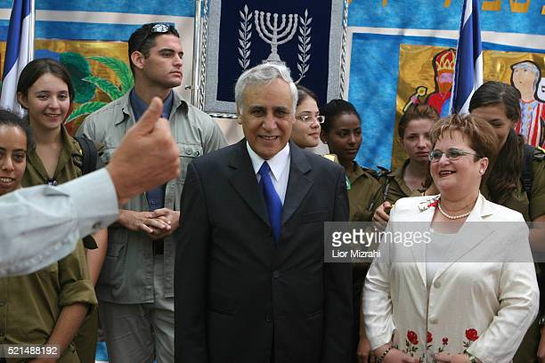 Israeli President Moshe Katsav and his wife Gila Katsav receives visitor as they open their Sukkah, or booth, to the public during the week-long...