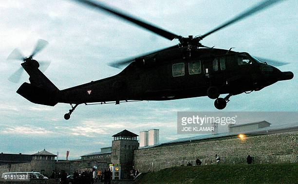 Israeli President Moshe Katsav and his wife Gila take off from grounds next to the Mauthausen concentration camp built by the Nazis during World War...