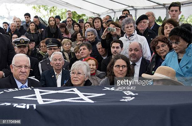 Israeli President Reuven Rivlin Ada and Orit Willenberg the widow and daughter of Samuel Willenberg the last survivor of a prisoners' revolt at the...