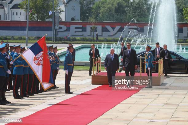 Israeli President Reuven Rivlin and Serbian President Aleksandar Vucic walk past honour guards during an official welcoming ceremony in Belgrade...
