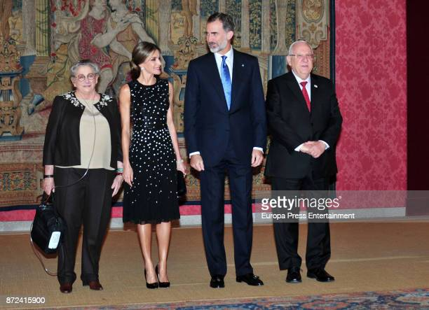 Israeli President Reuven Rivlin and wife Nechama Rivlin offer a reception in honour of King Felipe VI of Spain and Queen Letizia of Spain at El Pardo...