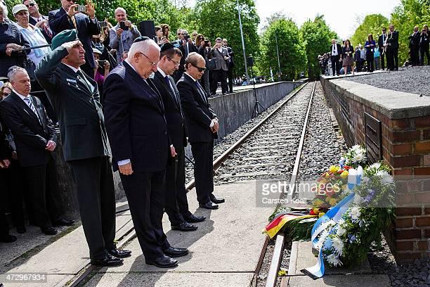 Israeli President Reuven Rivlin and Yakov HadasHandelsman Israeli Ambassador wait to lay a commemorative wreath at the ceremony at the Gleis 17...