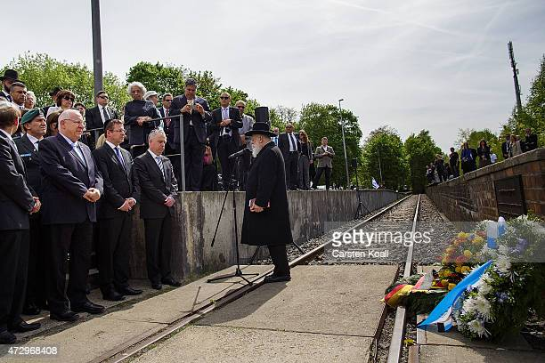 Israeli President Reuven Rivlin attends a ceremony before laying a commemorative wreath at the ceremony at the Gleis 17 memorial on May 11, 2015 in...