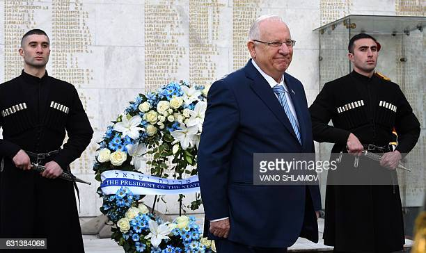 Israeli President Reuven Rivlin attends a wreath laying ceremony at a memorial dedicated to Georgians killed during the 19921993 armed conflict in...