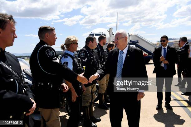 Israeli President Reuven Rivlin leaves Canberra on February 26, 2020 in Canberra, Australia. This is the first official visit to Australia for...