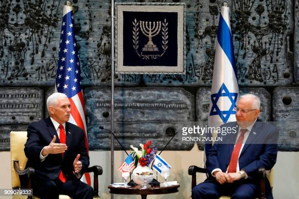 Israeli President Reuven Rivlin listens to US Vice President Mike Pence during a meeting at the presidential compound in Jerusalem on January 23 2018...