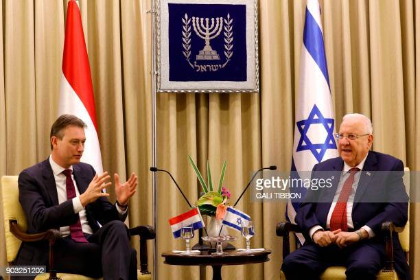 Israeli President Reuven Rivlin meets with Foreign Minister of the Netherlands Halbe Zijlstra at the presidential compound in Jerusalem on January 10...