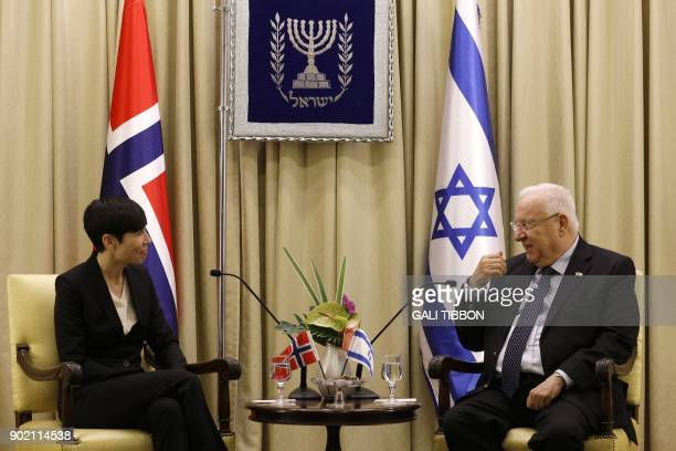 Israeli President Reuven Rivlin meets with Norway's Foreign Secretary Ine Eriksen Soreide at the presidential compound in Jerusalem on January 7 2018...