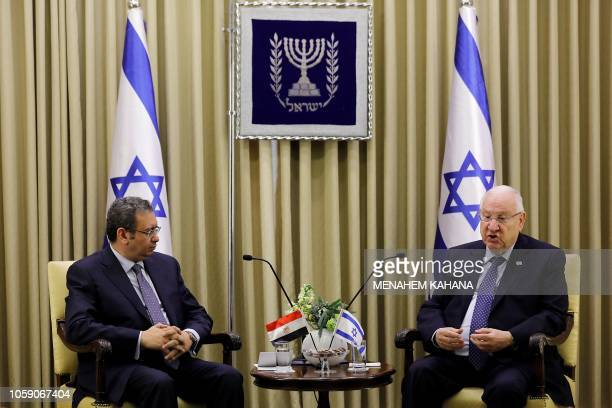 Israeli president Reuven Rivlin meets with the newly appointed Egypt's ambassador to Israel Khaled Azmi at the presidential compound in Jerusalem on...