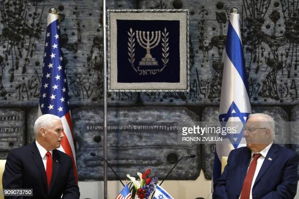 Israeli President Reuven Rivlin meets with US Vice President Mike Pence at the presidential compound in Jerusalem on January 23 2018 Pence proudly...