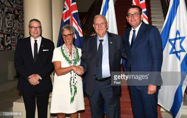 Israeli President Reuven Rivlin poses for a photo with Victoria's Premier Daniel Andrews and Governor of Victoria Linda Dessau and her husband...
