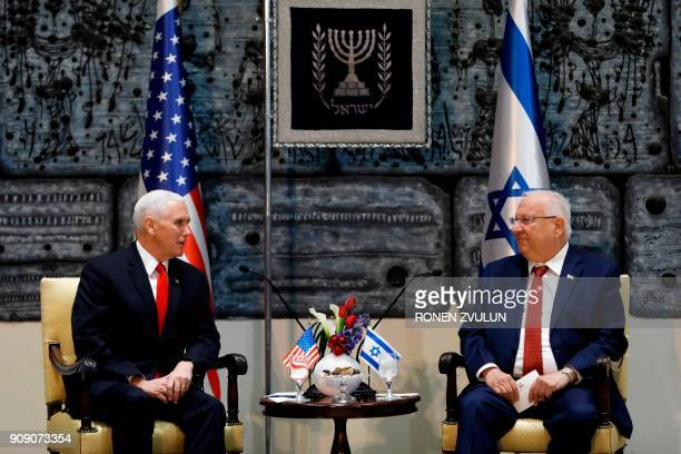 Israeli President Reuven Rivlin receives US Vice President Mike Pence at the presidential compound in Jerusalem on January 23 2018 / AFP PHOTO / POOL...