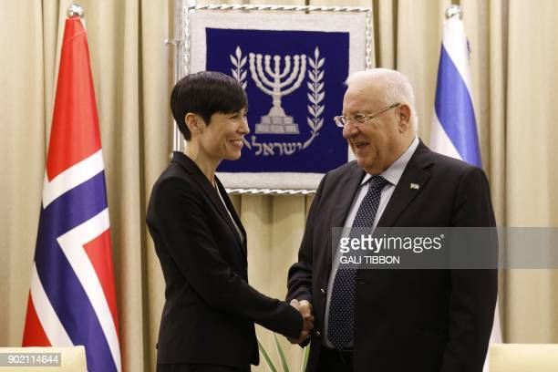 Israeli President Reuven Rivlin shakes hand with Norway's Foreign Secretary Ine Eriksen Soreide at the presidential compound in Jerusalem on January...