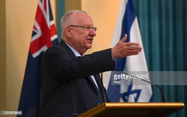 Israeli President Reuven Rivlin speaks at a luncheon attended by Victoria's Premier Daniel Andrews and the Governor of Victoria Linda Dessau at...