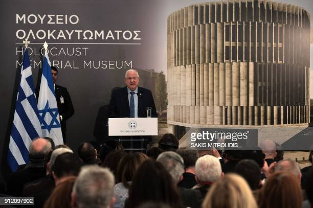 Israeli President Reuven Rivlin speaks during a foundation stonelaying ceremony for a Holocaust museum in Thessaloniki on January 30 2018 The museum...