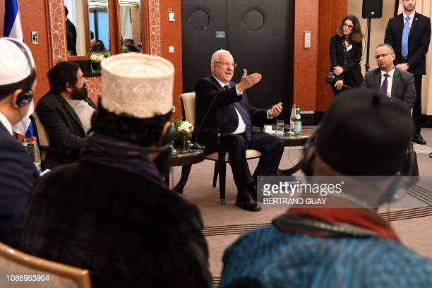 Israeli President Reuven Rivlin speaks during a meeting with French Muslim authorities, in Paris, on January 23, 2019.