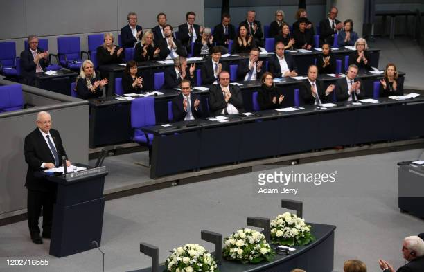 Israeli President Reuven Rivlin speaks in the Reichstag during a session of Germany's lower house of parliament, the Bundestag, to commemorate...