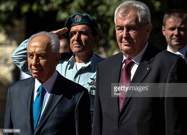 Israeli President Shimon Peres and President of the Czech Republic Milos Zeman attend the official state welcome ceremony at the President's...