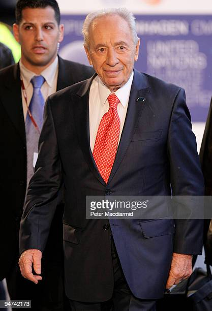 Israeli President Shimon Peres arrives for the final day of the UN Climate Change Conference on December 18 2009 in Copenhagen Denmark World leaders...