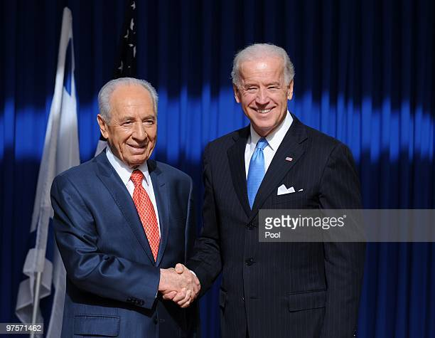 Israeli President Shimon Peres meets with visiting US-Vice President Joe Biden at the Israeli Prime Minister's residence on March 9, 2010 in...