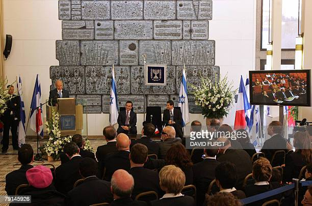 Israeli President Shimon Peres speaks during a joint press conference alongside President of French automaker RenaultNissan Carlos Ghosn and Director...