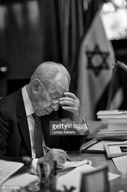 Israeli President Shimon Peres the oldest sitting president in the world prepares a speech in his office before celebrations to commemorate his 90th...