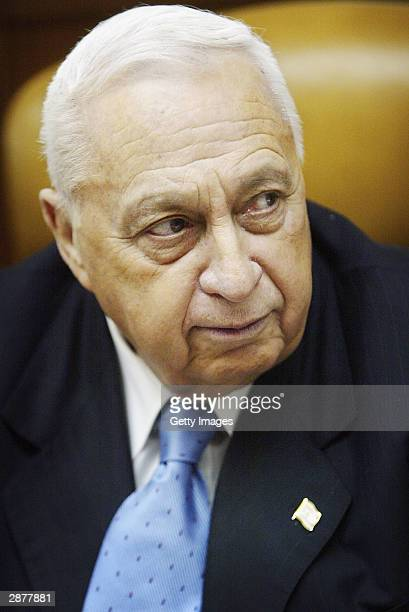 Israeli Prime Ariel Sharon conducts the weekly cabinet meeting at his office on January 18 2004 in Jerusalem The cabinet was to commence discussions...