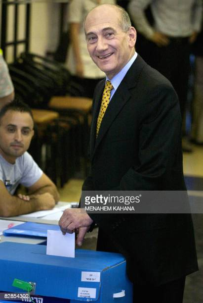 Israeli Prime Minister and current Kadima party leader Ehud Olmert casts his ballot at a polling station in the East Jerusalem Jewish neighborhood of...